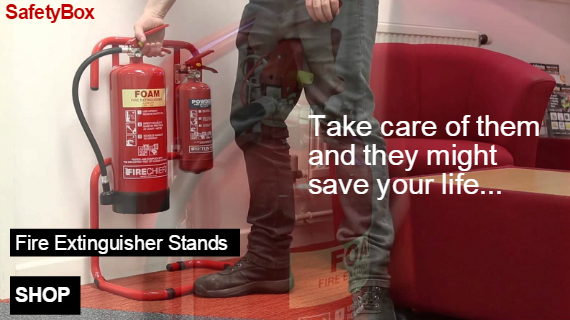 Cherwell Fire Safety supply a complete range of Fire extinguisher display stands all delivered direct to your door through our On-Line website SafetyBox